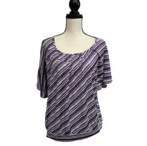 American City Wear Striped Blouse Purple sz 2XL